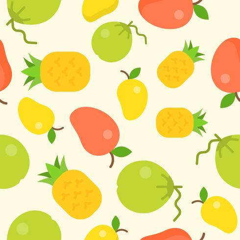 tropical fruit seamless pattern, coconut, pineapple, mango vector