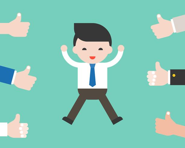 Cheerful business man jumping with team vote thumps up vector