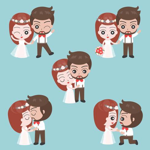Brudgum och brud gullig karaktär för användning som bröllop inbjudningskort eller bakgrund
