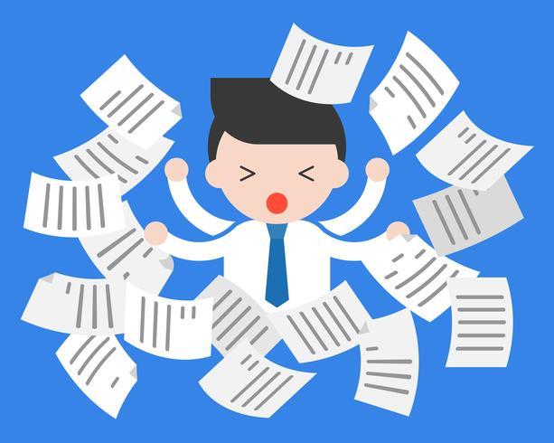 Leuke zakenman bezig in centrum van vliegende documenten, over het werk
