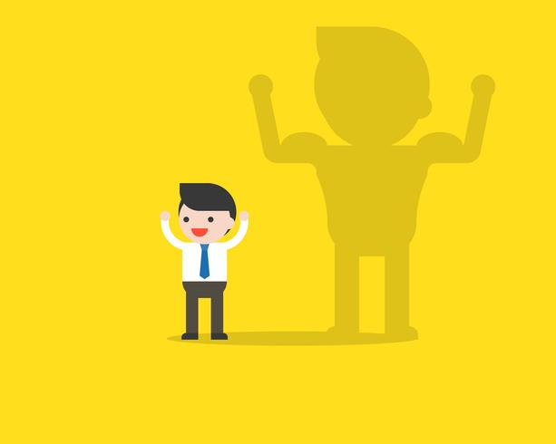 Cute businessman and his shadow with muscle on the wall vector