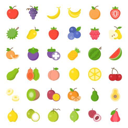 Conjunto de iconos planos de fruta linda, como naranja, kiwi, coco, plátano, papaya, melocotón