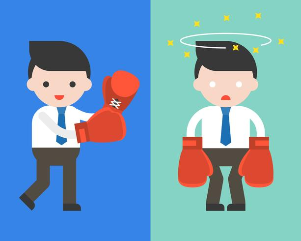 Cute Businessman or manager with boxing gloves vector