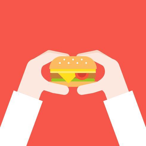 mano che tiene hamburger di formaggio, design piatto concetto di fast food vettore