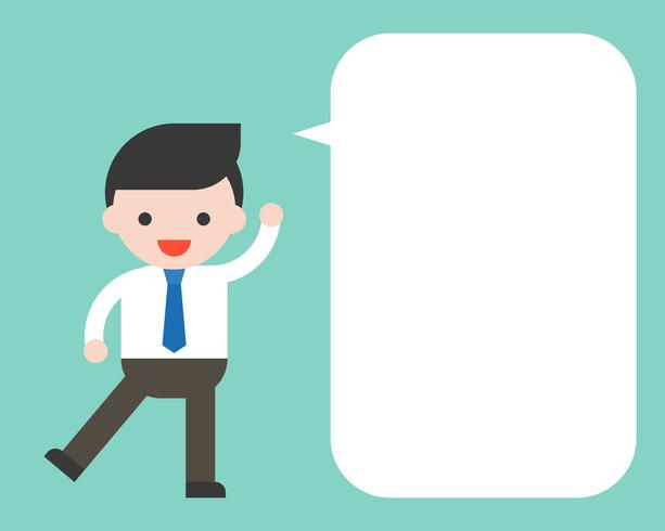 Businessman and blank speech bubble for use as template  vector