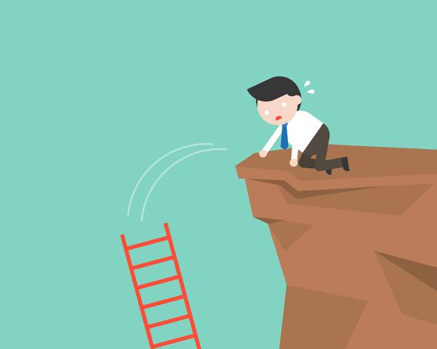 Businessman drop ladder in a cliff, mistake concept vector