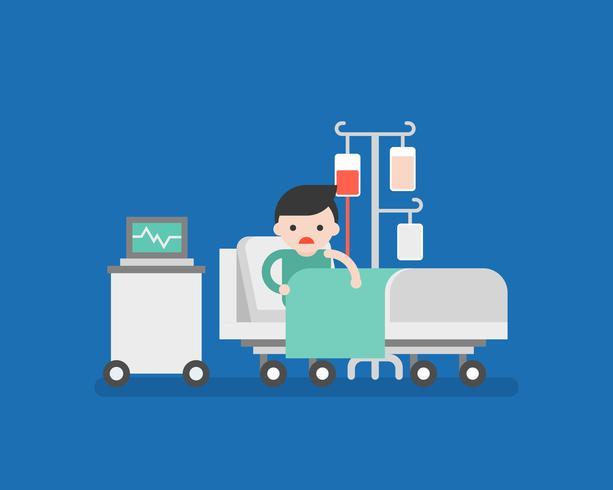 Paciente en cama de hospital con transfusión de sangre. vector
