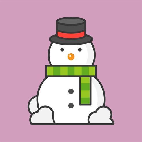 muñeco de nieve, icono de contorno lleno de tema de Navidad vector