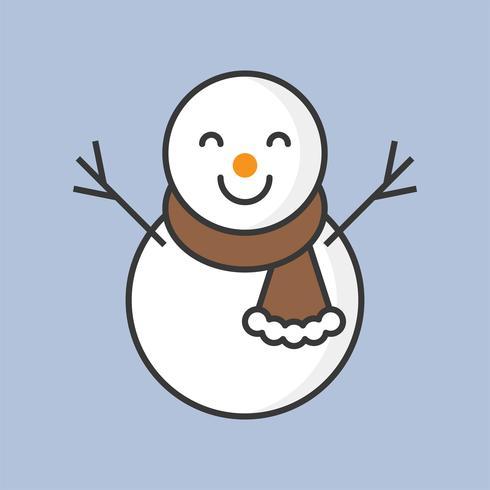 Schneemann, gefüllte Umrissikone für Weihnachtsthema