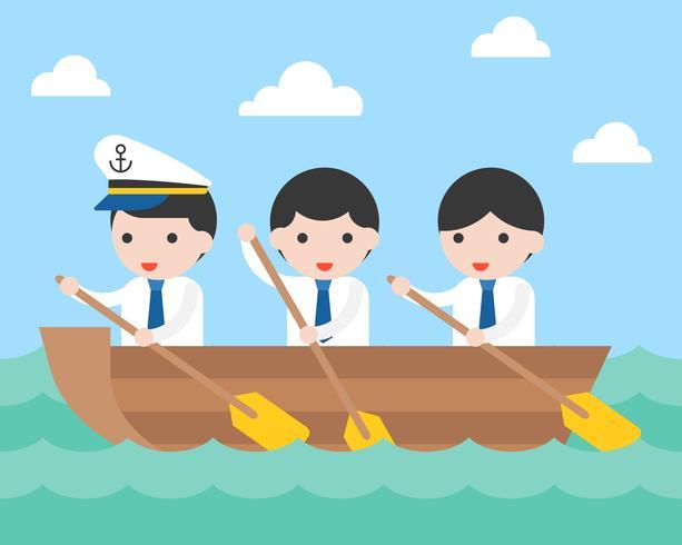 Het team van het zakenman het roeien boot in overzeese golf