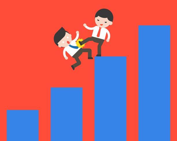 Empresario patea a otro hombre de negocios de su gráfico, concepto de competencia vector