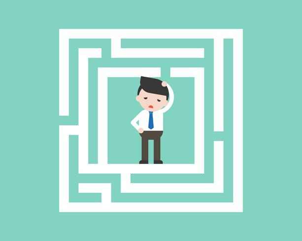 Confused Businessman in labyrinth, flat design solution concept