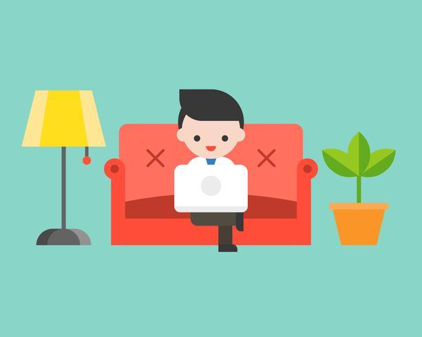 Hombre de negocios usando la computadora portátil en el sofá de lujo, diseño plano vector