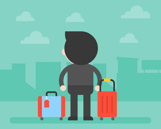 Back side of Business man and luggage with building background