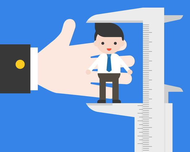 Big hand of hr using vernier measurement businessman vector