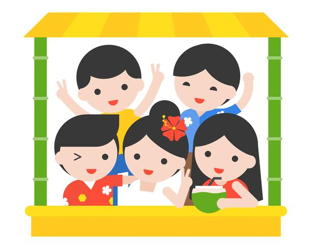 Happy people with Thai summer costume in  bamboo stall vector