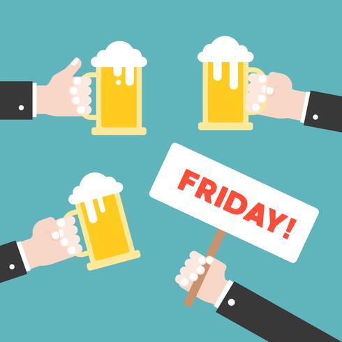 Celebrazione della brocca della birra della tenuta della mano di affari, progettazione piana