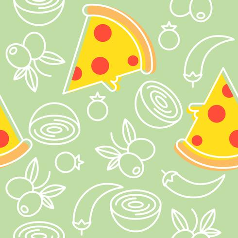 pizza and ingredients seamless pattern, outline for wallpaper and background
