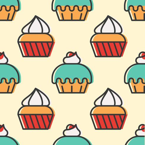 Colorful cute Cupcake seamless pattern for wrapping paper gift vector