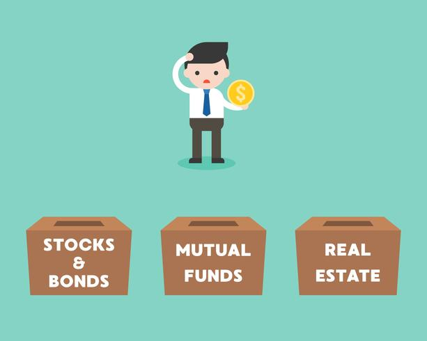 Businessman choosing box for investment between stock and bonds, vector