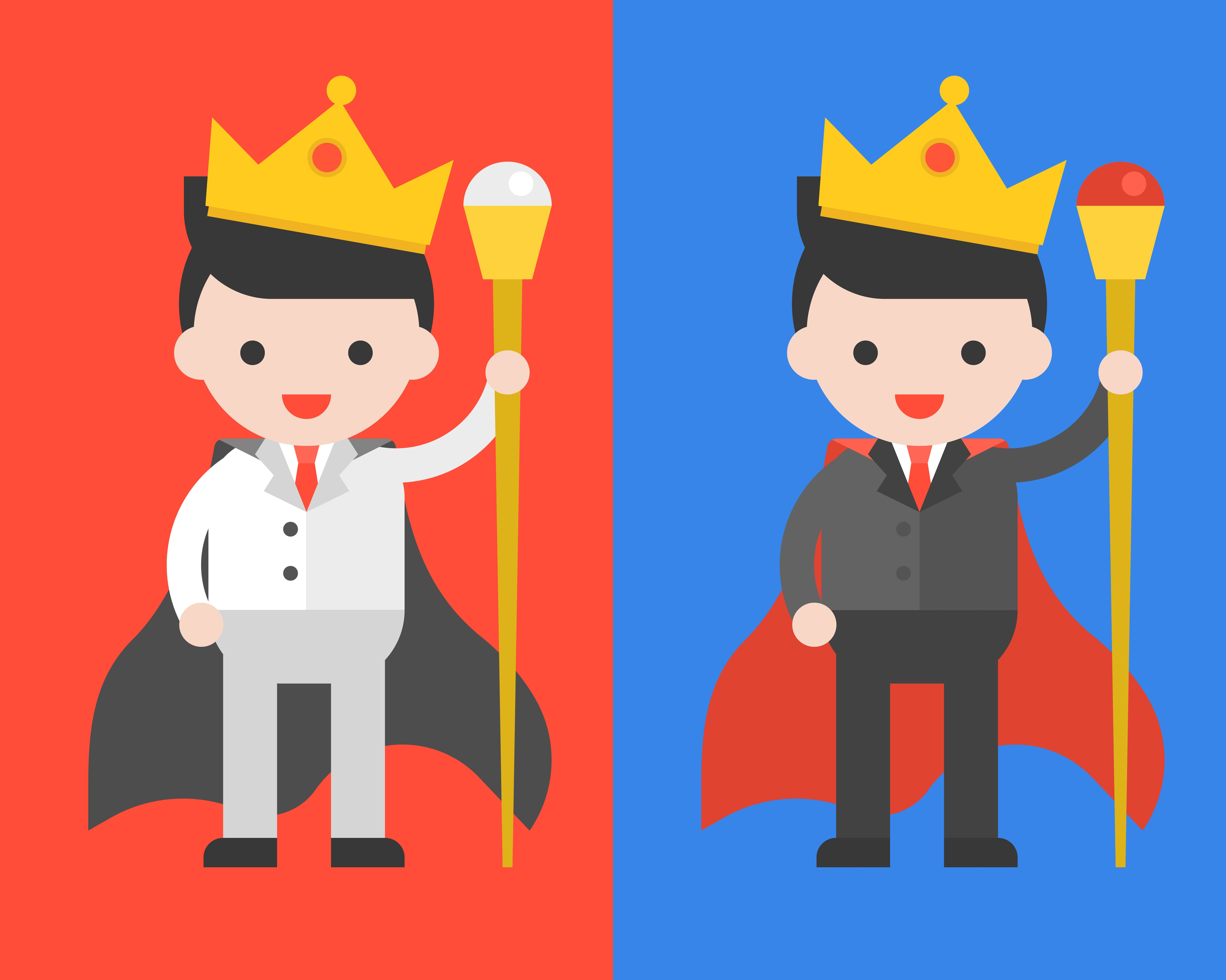 Businessman In Black And White Suits Wearing Crown And Wand As King Leader Download Free Vectors Clipart Graphics Vector Art Cartoon king holding a golden scepter. vecteezy