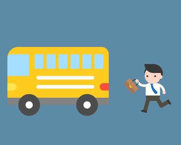 Homme d'affaires en cours d'exécution pour bus, concept de la vie quotidienne routine vecteur