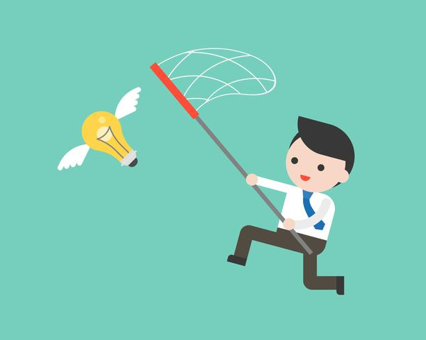 Businessman try to catch flying idea bulb with a net  vector