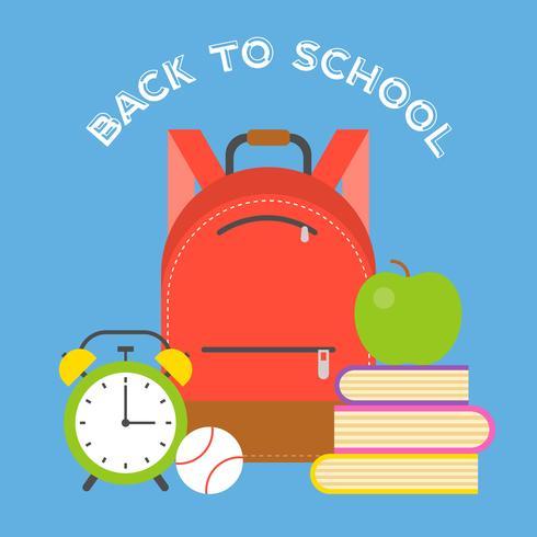 saco de escola ícone e material escolar, design plano de volta ao tema da escola