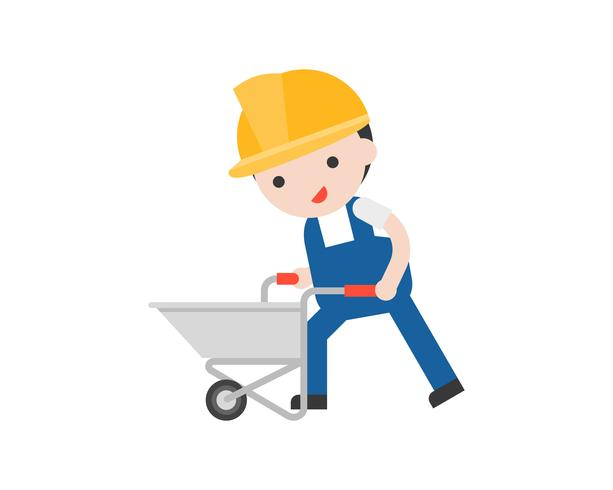 Worker pushing an empty cement cart