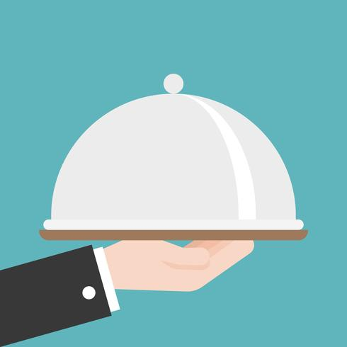 waiter or business Hand holding cloche, flat design