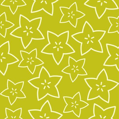 Outline Star fruit, Tropical Fruit seamless pattern