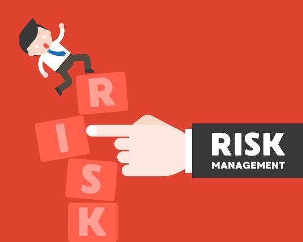 Vinger duw het risicoblok met zakenmantribune, risicobeheerconcept