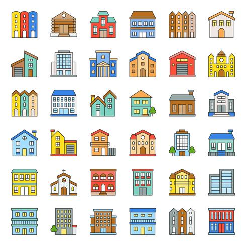 building construction filled outline icon set 2/3 vector