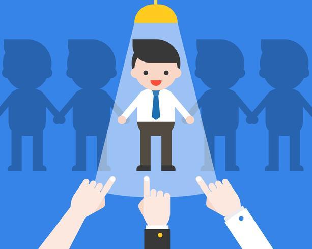 Point de main chez l'homme d'affaires avec lumière, candidat et candidat au recrutement