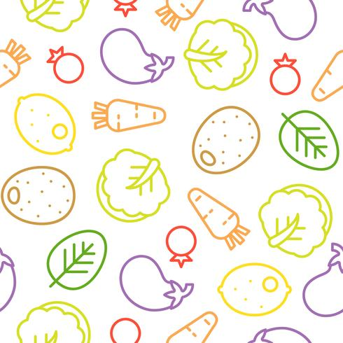 Colorful vegetable line seamless pattern, Chinese cabbage, eggplant, lemon vector