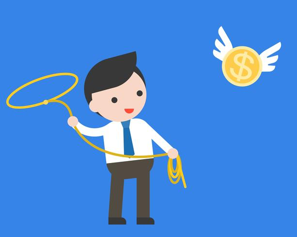 Affärsman som använder lasso-näsa som hänger flygande guldmynt