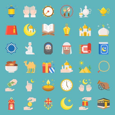 Ramadan ed eid Mubarak celebrazione vettoriale icona, design piatto
