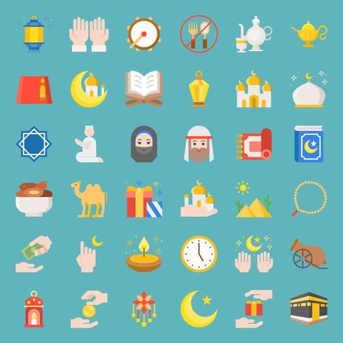 ramadan and eid Mubarak celebration vector icon, flat design