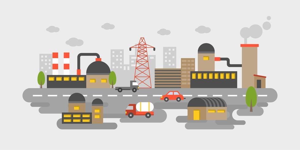 Industriområde, fabrikslandskapsutsikt i plandesignföroreningar