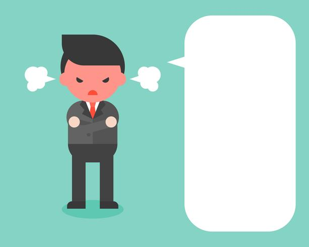 angry businessman in black suit and blank speech bubble, flat design vector