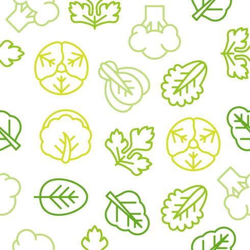 Seamless Outline vegetable pattern such as broccoli, lettuce vector