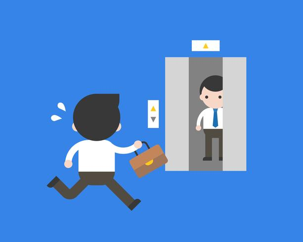 Businessman running to closing lift, business concept vector