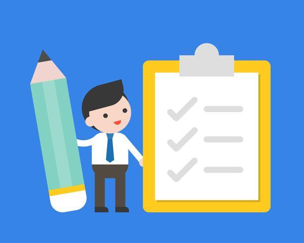 Homme d'affaires tenir le crayon avec la liste de contrôle, enquête et concept de liste à faire