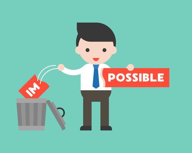 Empresario cambiar el signo imposible a posible vector