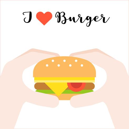 hand holding cheese burger, I love burger, fast food concept flat design vector