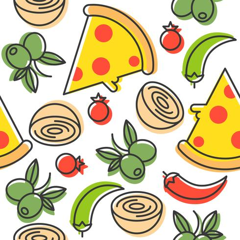 Pizza and ingredients seamless pattern, outline style vector