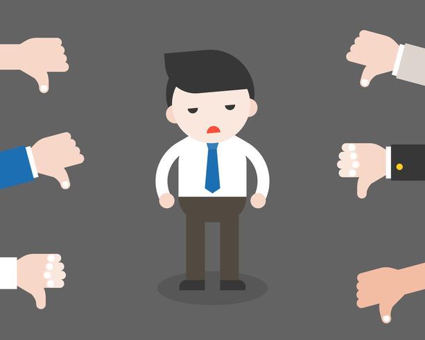 Hombre de negocios molesto con las manos golpea hacia abajo vector
