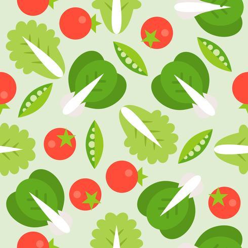 Lechuga, tomate y haba de soja de patrones sin fisuras, estilo vegetal estilo plano vector