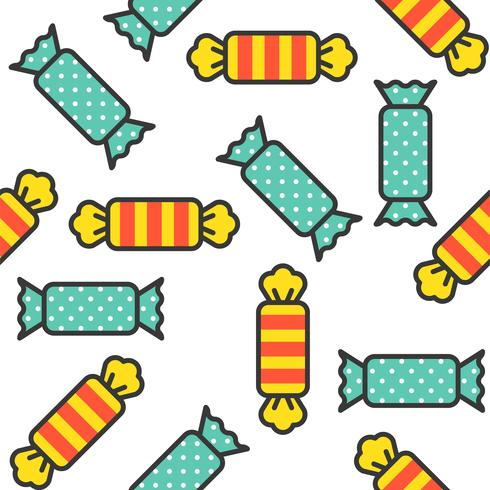Sweets candy filled outline seamless pattern  vector