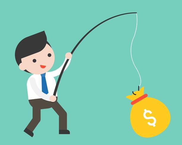 Homme d'affaires mignon tenant une canne à pêche a un gros sac d'argent
